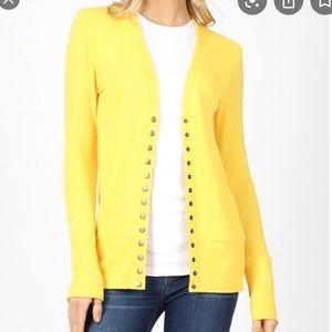 Women's Yellow Button Up Cardigan Like New